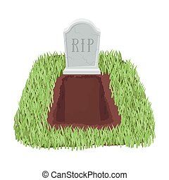 Grave icon in cartoon style isolated on white background....