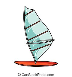 Windsurf board icon in cartoon style isolated on white...