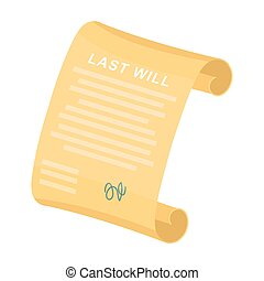 Last will icon in cartoon style isolated on white...