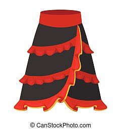 Flamenco skirt icon in cartoon style isolated on white...