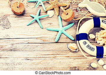 Summer holiday frame with seashells and beach accessories. Summer background