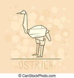 Vector illustration paper origami of ostrich. - Vector...