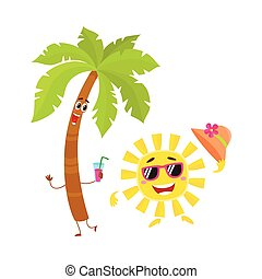 Funny palm tree and sun characters, travelling, summer...