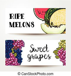 Banners of grapes and melon, watermelon with place for text