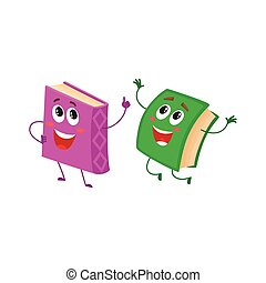 Funny book character running with bookmark ribbon visible -...