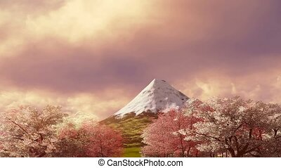 Mt Fuji and blooming sakura at sunrise - Spring scenery with...