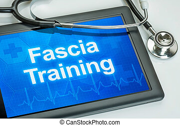 Tablet with the text Fascia training on the display