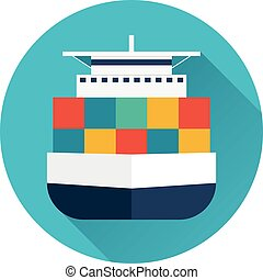 Sea transportation logistic. Sea Freight. Cargo ship. Vector...