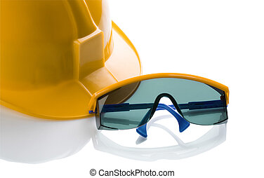 yellow helmet and blue safety glases