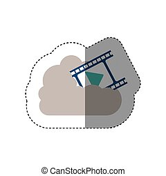 sticker filmstrip with play buttom into the cloud . Vector...