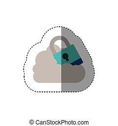 sticker padlock with shackle into the cloud . Vector...