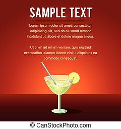 Cocktail Margarita Vector Template. Ready for Text and...