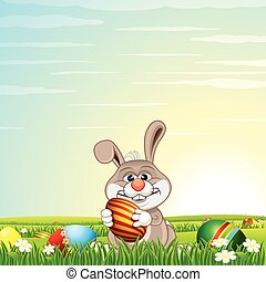 Easter Bunny Egg Hunt on Green Meadow