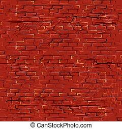 Seamless Cartoon Grunge Brickwall. Vector Pattern