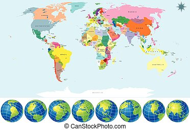 Political World Map with Earth Globes. Detailed Vector....