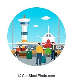 Icon Waiting Room,Travel and Tourism Concept - Icon Airport...