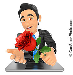 3D Businessman coming out a laptop screen with a red rose