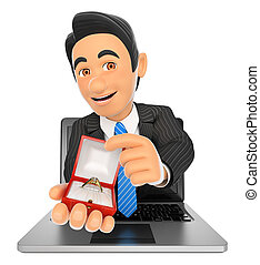 3D Businessman coming out a laptop screen with an engagement ring