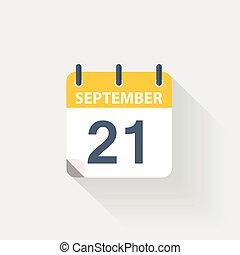 21 september calendar icon on grey background