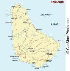 barbados road map - barbados road vector map