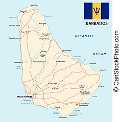 barbados road map with flag - barbados road vector map with...