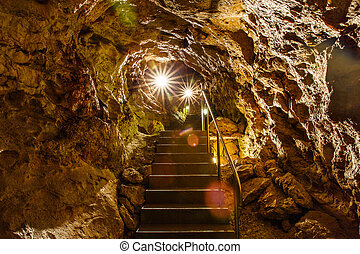 Limestone cave system - Photo of limestone cave system under...