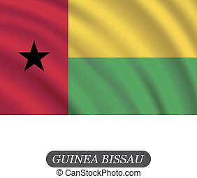 Waving Guinea Bissau flag on a white background. Vector...