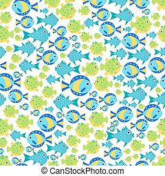 Seamless vector pattern with cute cartoon fish - Seamless...