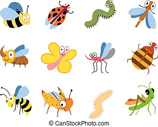 Funny insects, cute cartoon bugs vector set