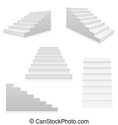 White stairs, 3d interior staircases isolated. Vector steps...