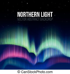 Winter sky with polar lights vector background