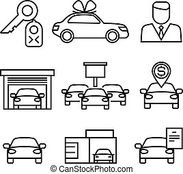 Car dealerships, purchase and sale of cars line vector icons