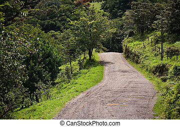 Windy Costa Rica road near Santa Elena