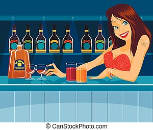 Sexy bartender behind bar - Vector illustration of a sexy...