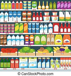 Store shelves with products - Store shelves with dairy...