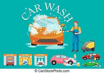 contactless car washing services, bikini model girl cleaning...