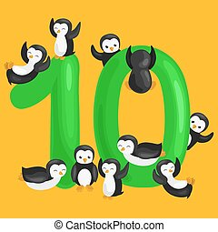ordinal number 10 for teaching children counting ten...