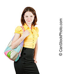 young girl holding purse - Attractive young girl with purse...