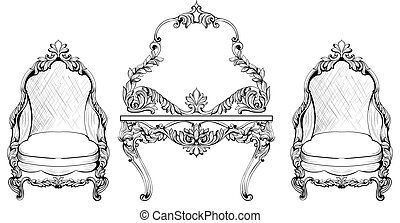 Rich Baroque Rococo armchair and dressing table set. French...