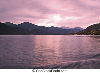 Lake - Beautiful pink sunset over the lake, long time of...