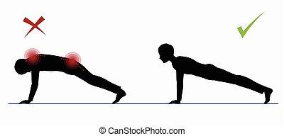 Sport exercise. Physical training full plank - Sport...
