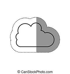sticker silhouette cloud in cumulus shape vector...