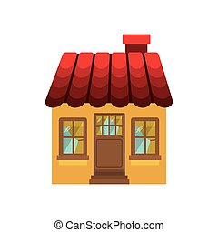 small house with chimney and roof vector illustration