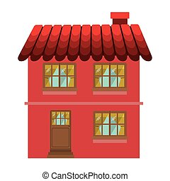 facade confortable house with two floors vector illustration
