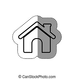 sticker contour roof house and chimney