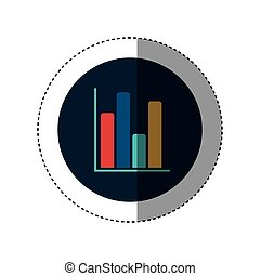 colorful sticker circular border with column chart icon flat