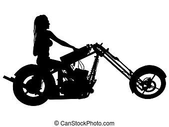 Biker women whit motor