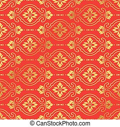 Seamless Golden Chinese Background Curve Cross Oval Flower