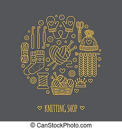 Knitting, crochet, hand made banner illustration. Vector line icon  needle, hook, scarf, socks, pattern, wool skeins and other DIY equipment. Yarn or tailor store template