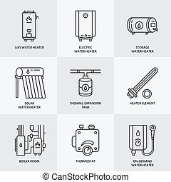 Water heater, boiler, electric, gas, solar heaters and other house heating equipment line icons. Thin linear pictogram for hardware store. Household appliances signs